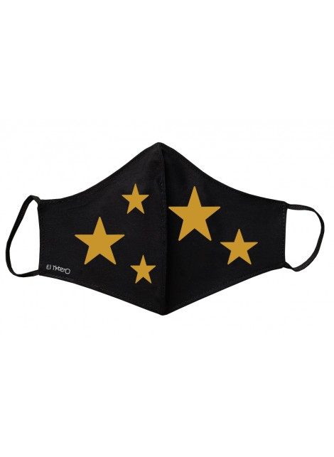 Mascarilla negra Adultos - Estrellas doradas